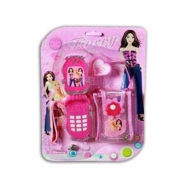 Speelgoed mobiel roze met tasje