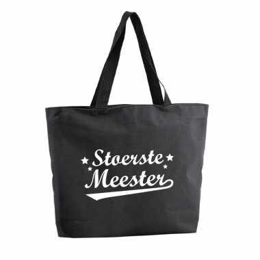 Stoertse meester shopper cadeau tas zwart 47 cm