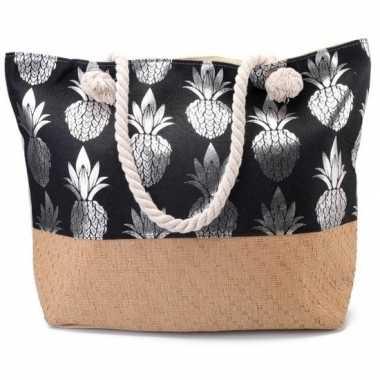 Strandtas ananas zwart/zilver 54 cm