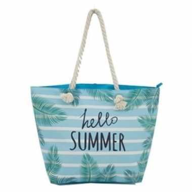 Strandtas blauw/wit hello summer 54 cm