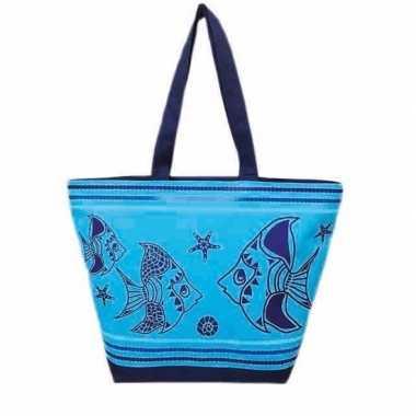 Strandtas fish blauw/donkerblauw 58 cm