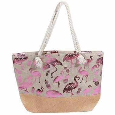 Strandtas flamingo ananas creme metallic roze 54 cm