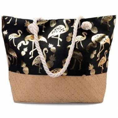 Strandtas flamingo/ananas zwart/goud 54 cm