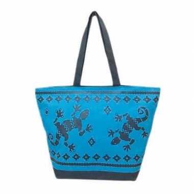 Strandtas gekko blauw/donkerblauw 58 cm