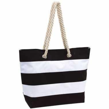 Strandtas gestreept zwart wit 47 cm