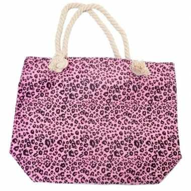 Strandtas luipaard/panter print roze 43 cm