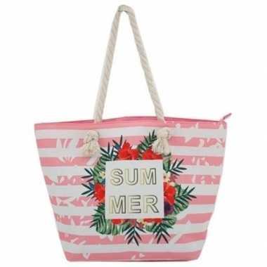 Strandtas roze/wit summer 54 cm