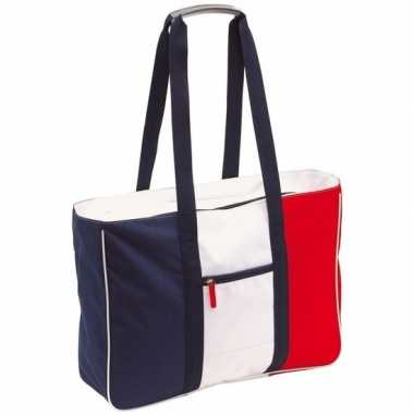 Strandtas/shopper blauw/rood/wit 47 cm