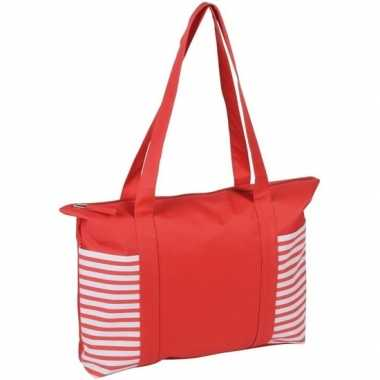 Strandtas/shopper rood/wit met streepmotief 44 cm