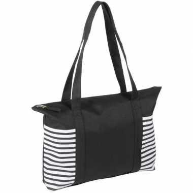 Strandtas/shopper zwart/wit met streepmotief 44 cm