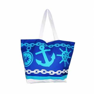 Strandtas to the beach blauw 58 cm