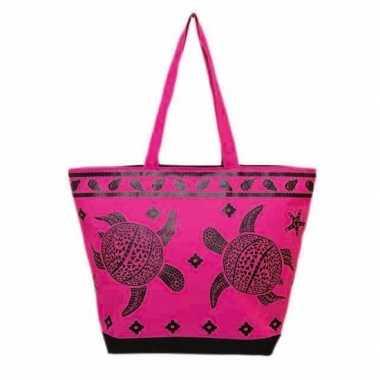 Strandtas turtle roze/zwart 58 cm