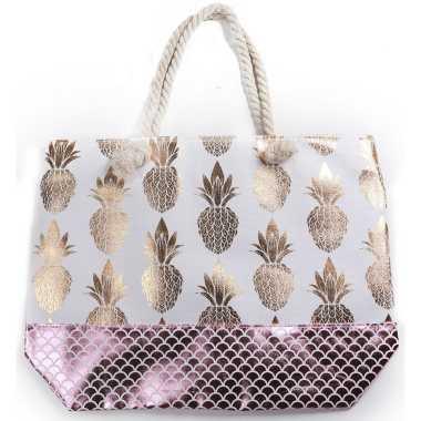 Strandtas wit met metallic ananas/schubben print 54 cm