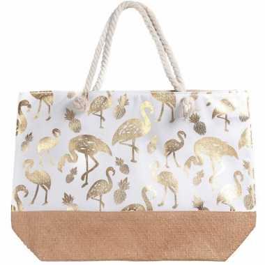 Strandtas wit met metallic gouden flamingo print 54 cm