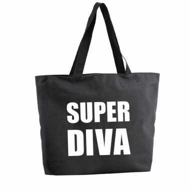 Super diva shopper tas zwart 47 cm