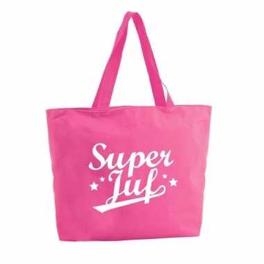 Super juf shopper cadeau tas fuchsia roze 47 cm