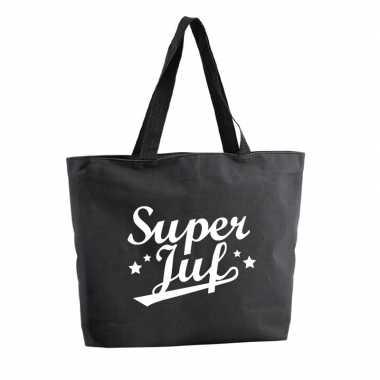 Super juf shopper cadeau tas zwart 47 cm
