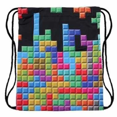 Tetris print rugtas met rijgkoord