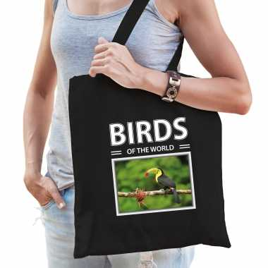 Toekan vogel tasje zwart volwassenen en kinderen birds of the world kado boodschappen tas