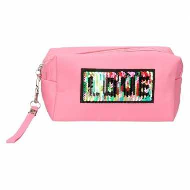 Toilettas/make-up etui love licht roze 21 cm