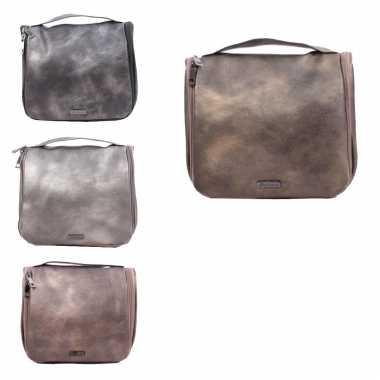 Toilettas/make-up tas bruin metallic voor dames 24 x 20 x 3 cm