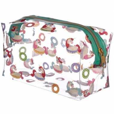 Toilettas/make-up tas eenhoorn/unicorn 20 cm voor dames