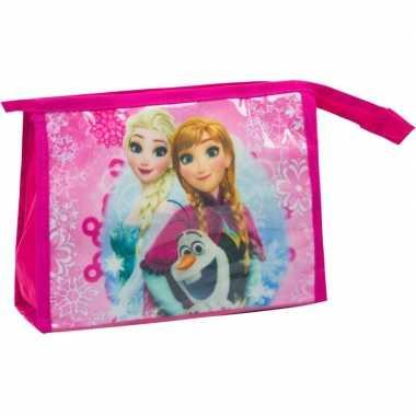 Toilettas make up tas frozen fuchsia roze 21 5 cm voor kinderen