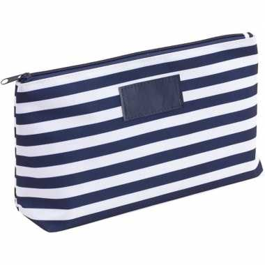 Toilettas/make-up tas gestreept blauw/wit 28 cm voor heren/dames