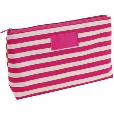 Toilettas/make-up tas gestreept roze/beige 28 cm voor dames