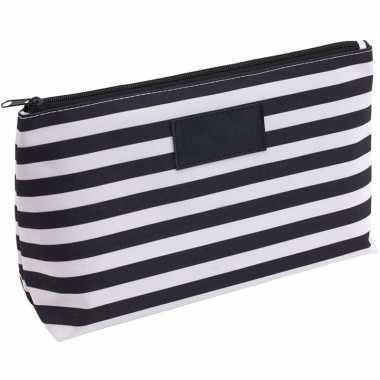 Toilettas/make-up tas gestreept zwart/wit 28 cm voor heren/dames