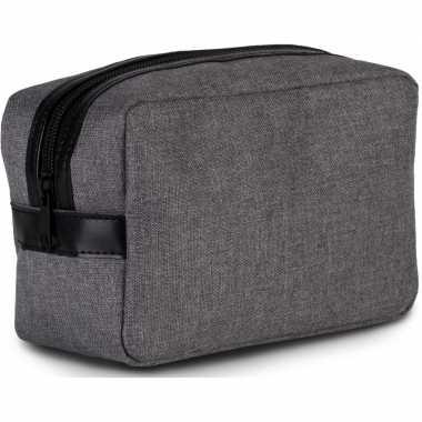 Toilettas/make-up tas grijs 20 cm voor heren/dames