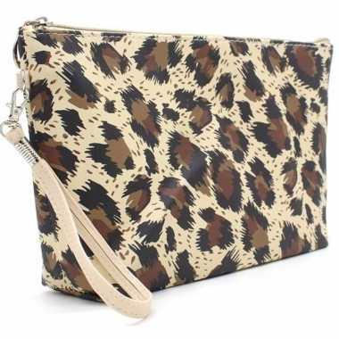 Toilettas/make-up tas luipaard/panter bruin 28 cm voor dames