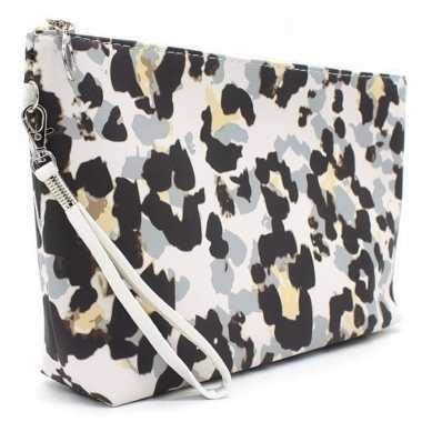 Toilettas/make-up tas luipaard/panter grijs 28 cm voor dames