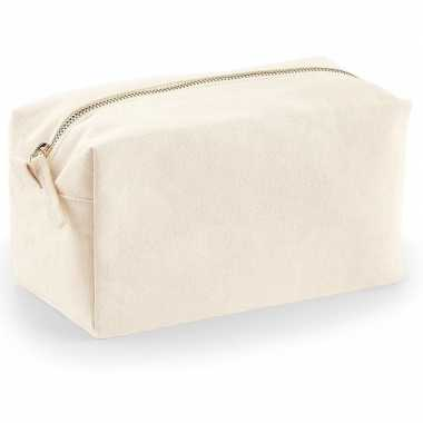 Toilettas/make-up tas naturel 21 cm voor heren/dames