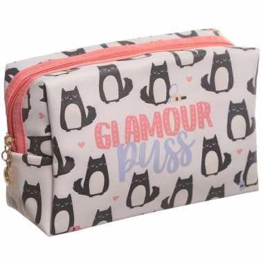 Toilettas/make-up tas poes/kat roze 19 cm voor dames
