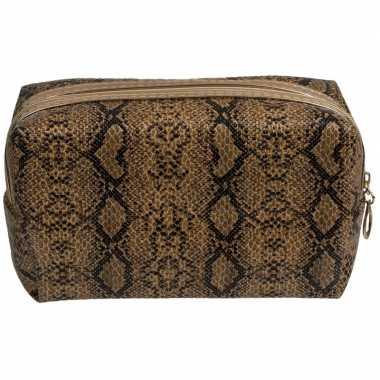 Toilettas/make-up tas slangen print bruin 18 cm voor dames