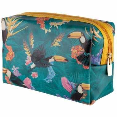Toilettas/make-up tas toekan/tropisch 19 cm voor dames