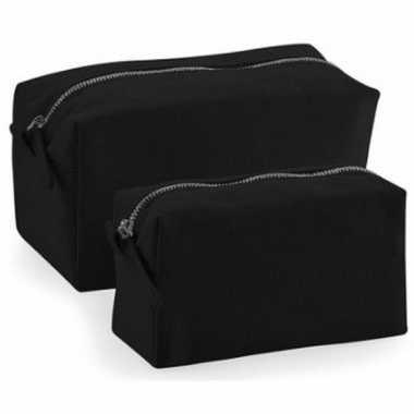 Toilettas/make-up tas zwart 17 cm voor heren/dames
