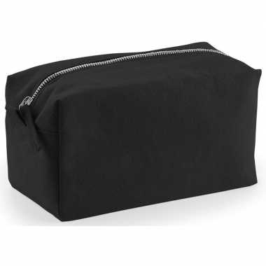 Toilettas/make-up tas zwart 21 cm voor heren/dames