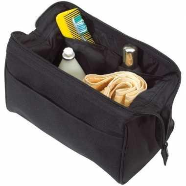Toilettas/make-up tas zwart 25 cm voor heren/dames