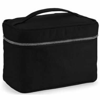 Toilettas/make-up tas zwart met handvat 23 cm voor heren/dames