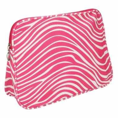 Toilettas zebraprint roze 30 x 21 x 10 cm