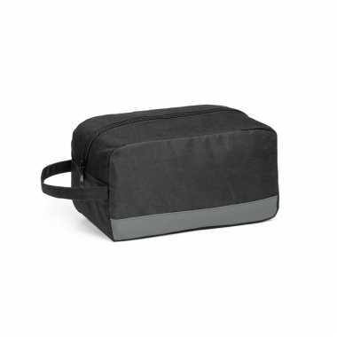 Toilettas zwart/grijs met handvat 22 x 12 cm
