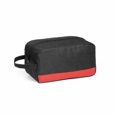 Toilettas zwart/rood met handvat 22 x 12 cm