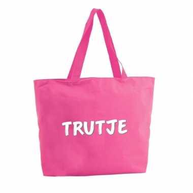 Trutje shopper tas fuchsia roze 47 cm