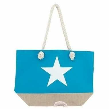 Turquoise blauwe strandtas met witte ster 55 cm