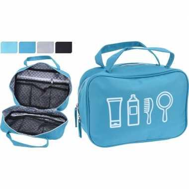 Turquoise blauwe toilettas met handvaten 25 cm voor heren/dames
