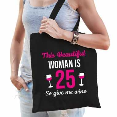 Verjaardag cadeau tas 25 jaar this beautiful woman is 25 give wine zwart voor dames