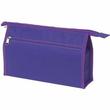 Voordelige toilettas paars 28 cm voor heren/dames