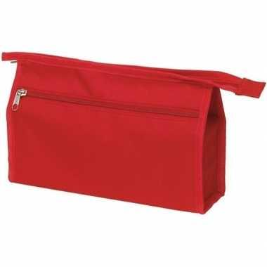 Voordelige toilettas rood 28 cm voor heren/dames